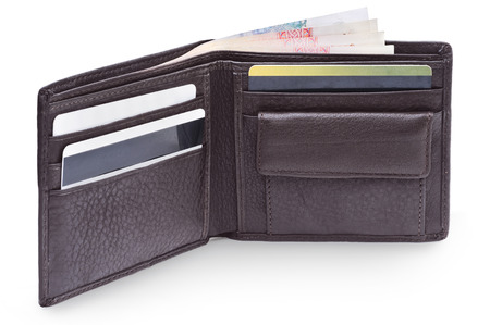 billfold: Open brown leather wallet with money Stock Photo