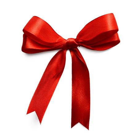 Fiocco di seta dono di nastro rosso isolato su sfondo bianco Archivio Fotografico - 48925907