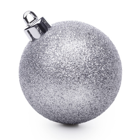 shiny christmas baubles: Silver christmas ball isolated on white background