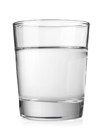Transparent glass with clean mineral water isolated on white background