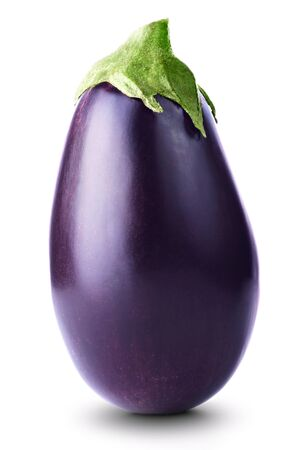 violaceous: Ripe fresh aubergine isolated on white background Stock Photo