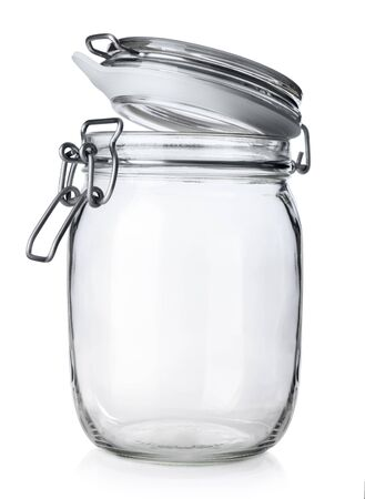 glass jars: Open jar for canning isolated on white background