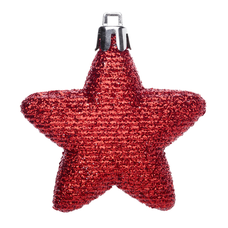 red star: Red christmas ball in the shape of a star isolated on white background Stock Photo