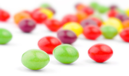 gumballs: An assortment of colorful candy on white background