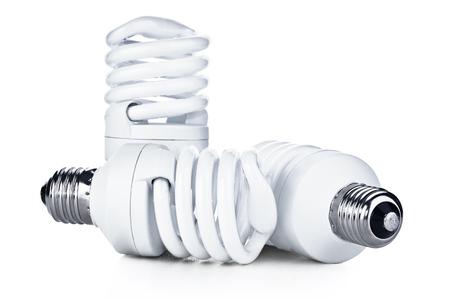 energia electrica: El ahorro de energía bombilla fluorescente en blanco bakground Foto de archivo