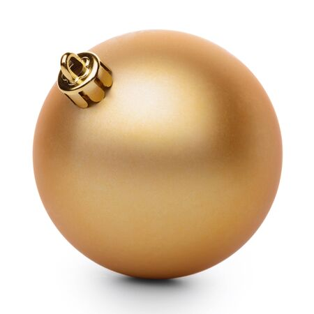 goldish: Golden christmas ball isolated on white background