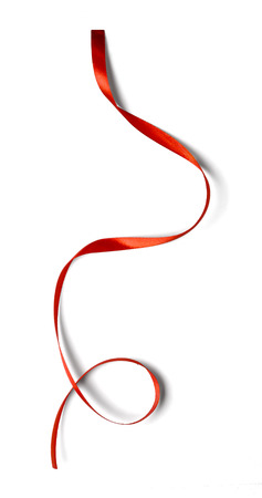 red silk: Curly red ribbon isolated on white background Stock Photo