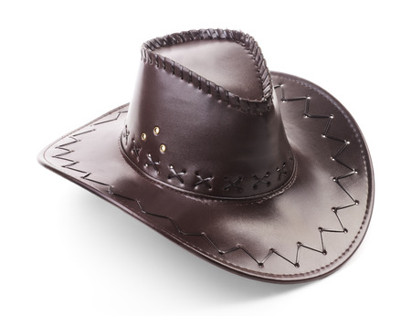 white hat: Leather cowboy hat on white background