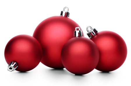 christmas bauble: Red christmas ball isolated on white background