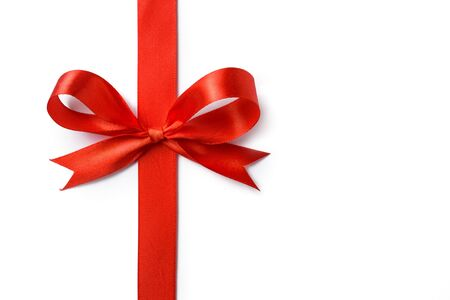 white ribbon: Gift silk bow of red ribbon isolated on white background