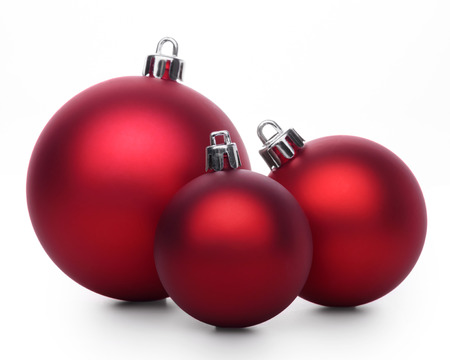 group of christmas baubles: Group of red christmas balls isolated on white background Stock Photo