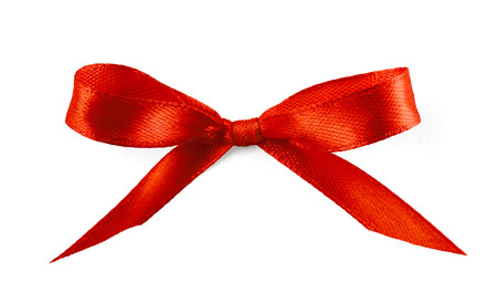 christmas bow: Gift silk bow of red ribbon isolated on white background
