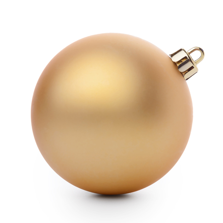 christmas baubles: Gold christmas ball isolated on white background