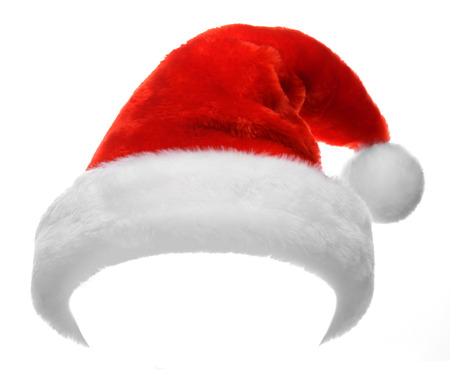 christmas hat: Single Santa Claus red hat isolated on white background
