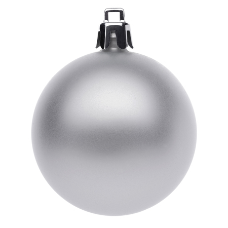 hanging on: Silvertmas ball isolated on white background Stock Photo