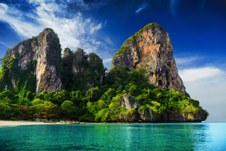 beach landscape: Tropical landscape. Railay beach, Krabi, Thailand