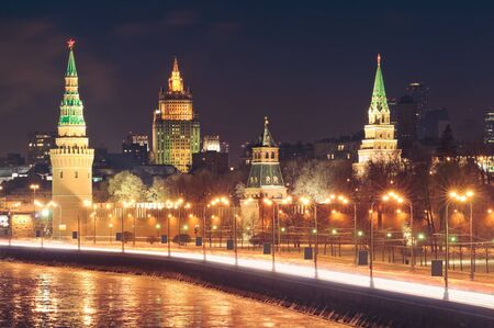 moskva river: Moscow Kremlin and the Moskva River. Night cityscape