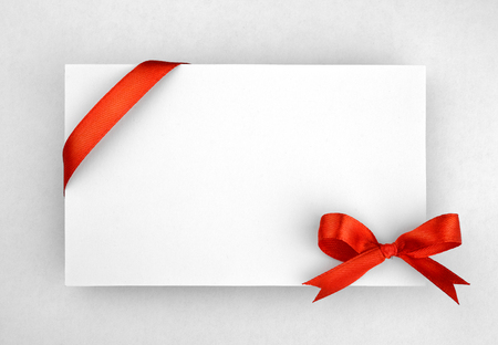 congrats: Red silk bow on empty paper card
