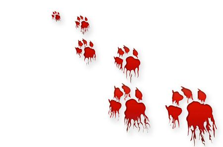 track pad: Bloody track on white background Stock Photo
