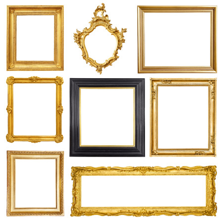 photo studio background: Set of golden vintage frame isolated on white background