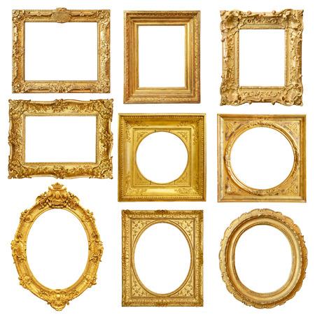 marco madera: Conjunto de marco de la vendimia de oro aislado en fondo blanco