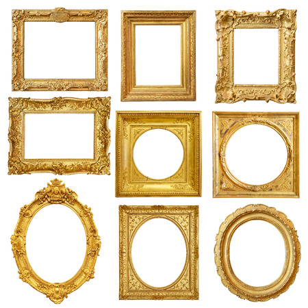 photo frame: Set of golden vintage frame isolated on white background