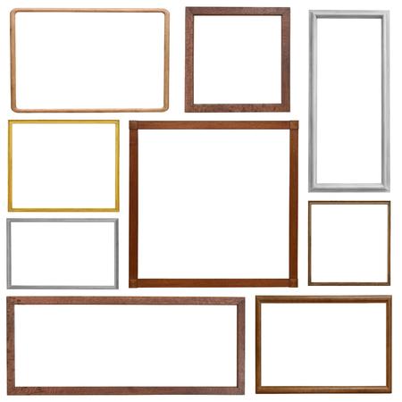 marcos cuadros: Conjunto de marco de cosecha de madera aislada sobre fondo blanco Foto de archivo