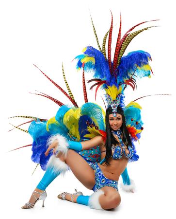 danseuse: Sourire belle jeune fille dans un costume de carnaval coloré