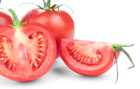 Rode tomaten op whitw achtergrond