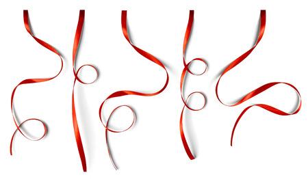 흰색 배경에 고립 곱슬 빨간 리본 세트