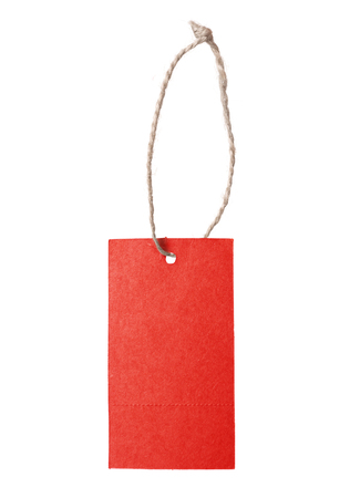blank tag: Red blank price tag isolated on white background Stock Photo