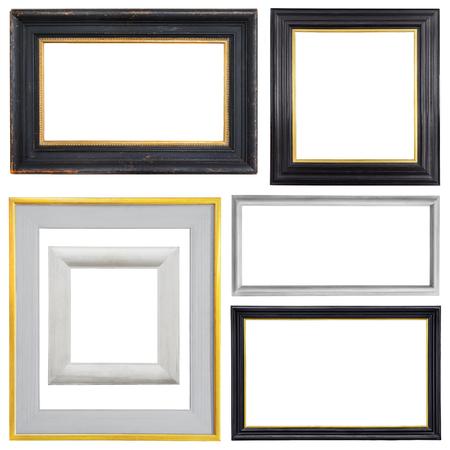 Set van gouden vintage frame geïsoleerd op een witte achtergrond Stockfoto