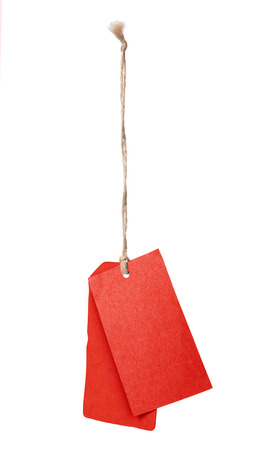 textured paper: Red blank price tag isolated on white background Stock Photo