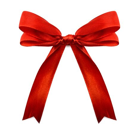 silk bow: Gift silk bow of red ribbon isolated on white background