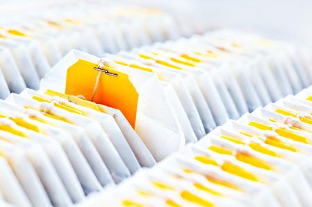 teabag: Teabag close-up in tea packaging Stock Photo