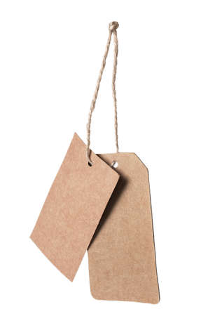 blank tag: Brown blank price tag isolated on white background