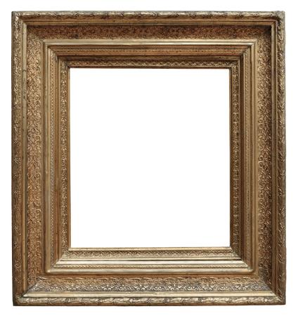 Houten vintage frame geïsoleerd op witte achtergrond