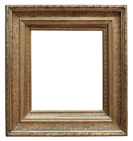 old frame: Wooden vintage frame isolated on white background
