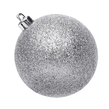 Silvertmas ball isolated on white background 스톡 콘텐츠