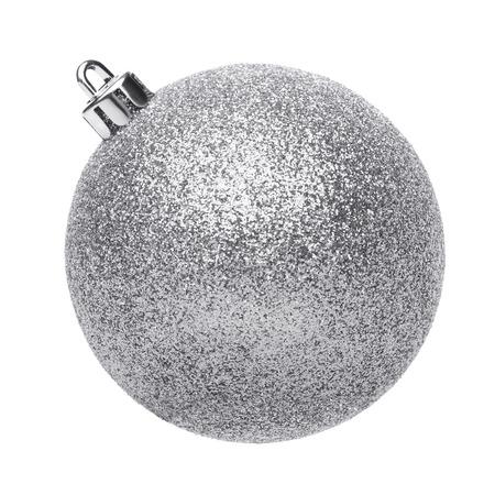 Silvertmas ball isolated on white background Standard-Bild