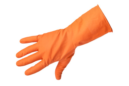 latex glove: Hand with orange rubber glove isolated on white background