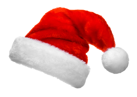 pascuas navideÑas: Sombrero rojo de Santa Claus aislado sobre fondo blanco