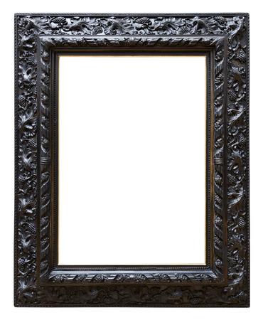 Wooden black vintage frame isolated on white background Standard-Bild
