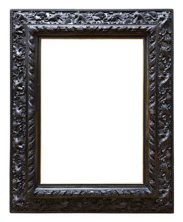 Wooden black vintage frame isolated on white background Stok Fotoğraf