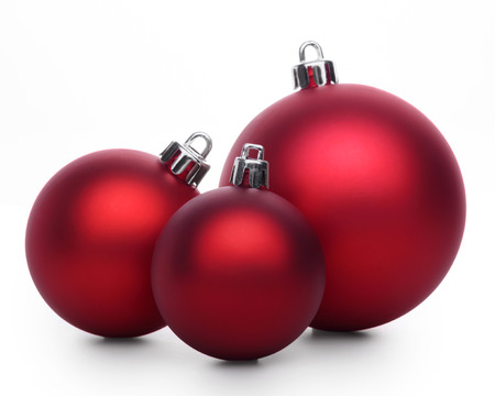 Group of red christmas balls isolated on white background 스톡 콘텐츠
