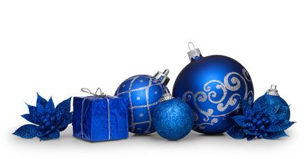 christmas isolated: Group of blue christmas balls isolated on white background