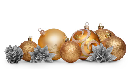christmas isolated: Group of gold christmas balls isolated on white background