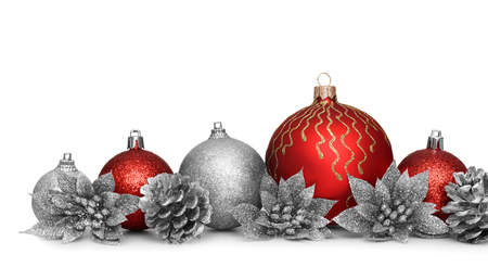 Group of christmas balls isolated on white background