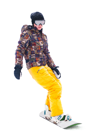 Teen snowboarder isolated on white background Stok Fotoğraf - 80124779