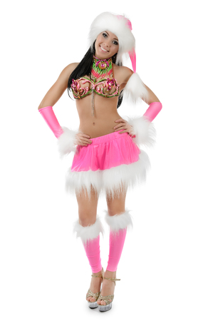 Cute sexy girl in pink christmas costume isolated on white background Stok Fotoğraf - 80124761